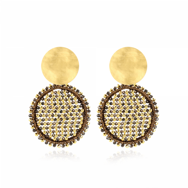 Brown Earrings Isabella Circle Abacus Double Stones L