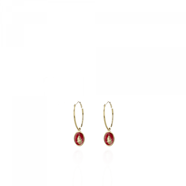 Golden Madonna red earrings