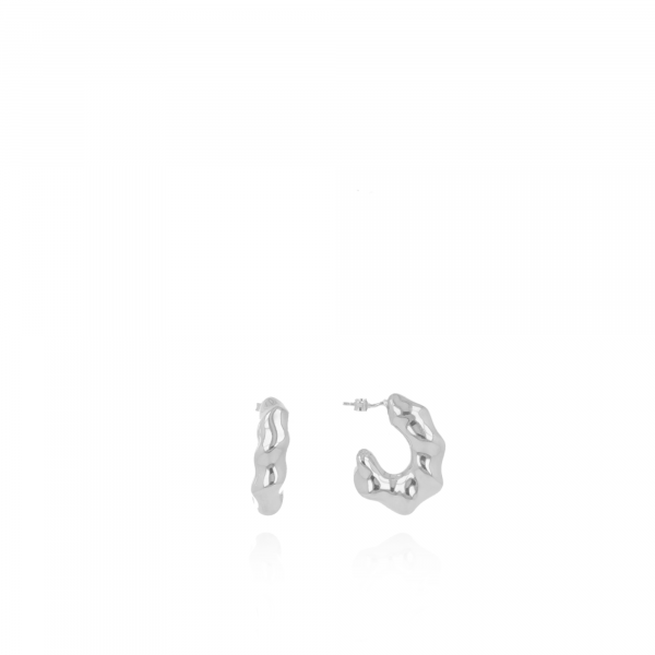 Silver wave creole small earrings