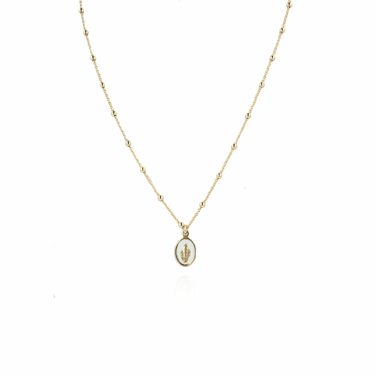Golden Madonna White Necklace