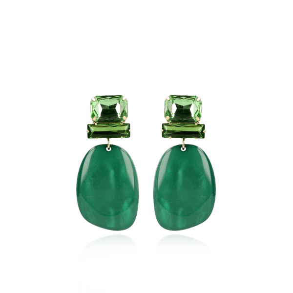 Pernille resin assymetric oval L moss green