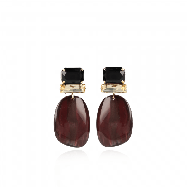 Pernille Resin Asymmetric Ovaal L Wine Red Swarovski