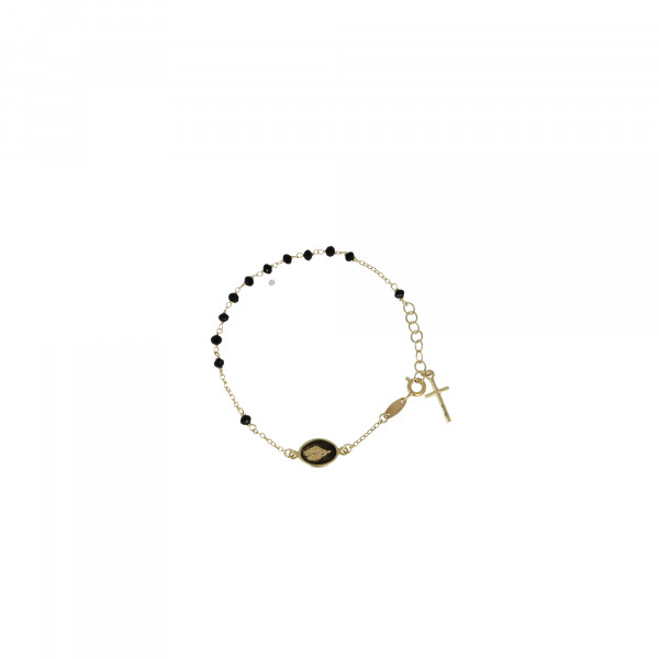 Golden Rosary cross and mary black bracelet