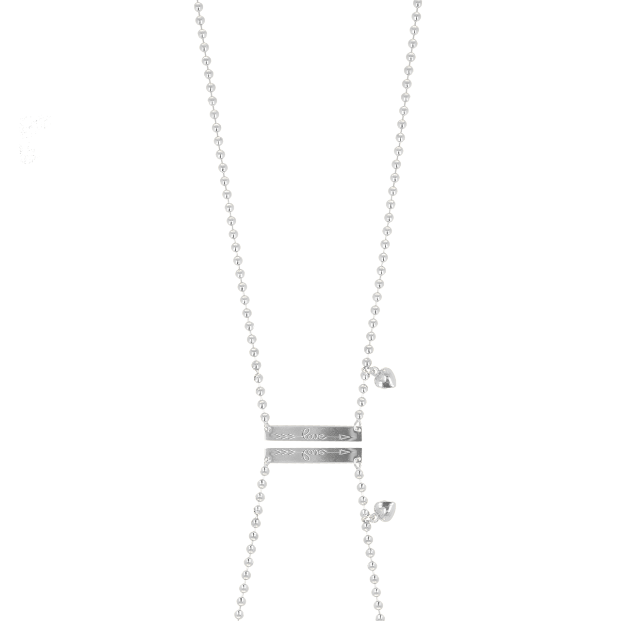 Zilveren ball chain bar love ketting