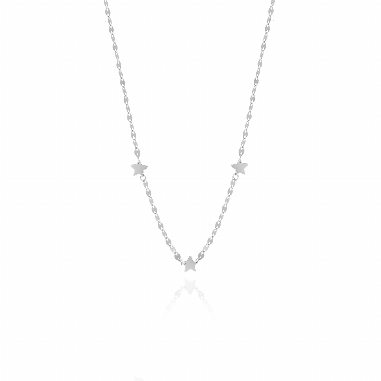 Silver sequined stars S necklace