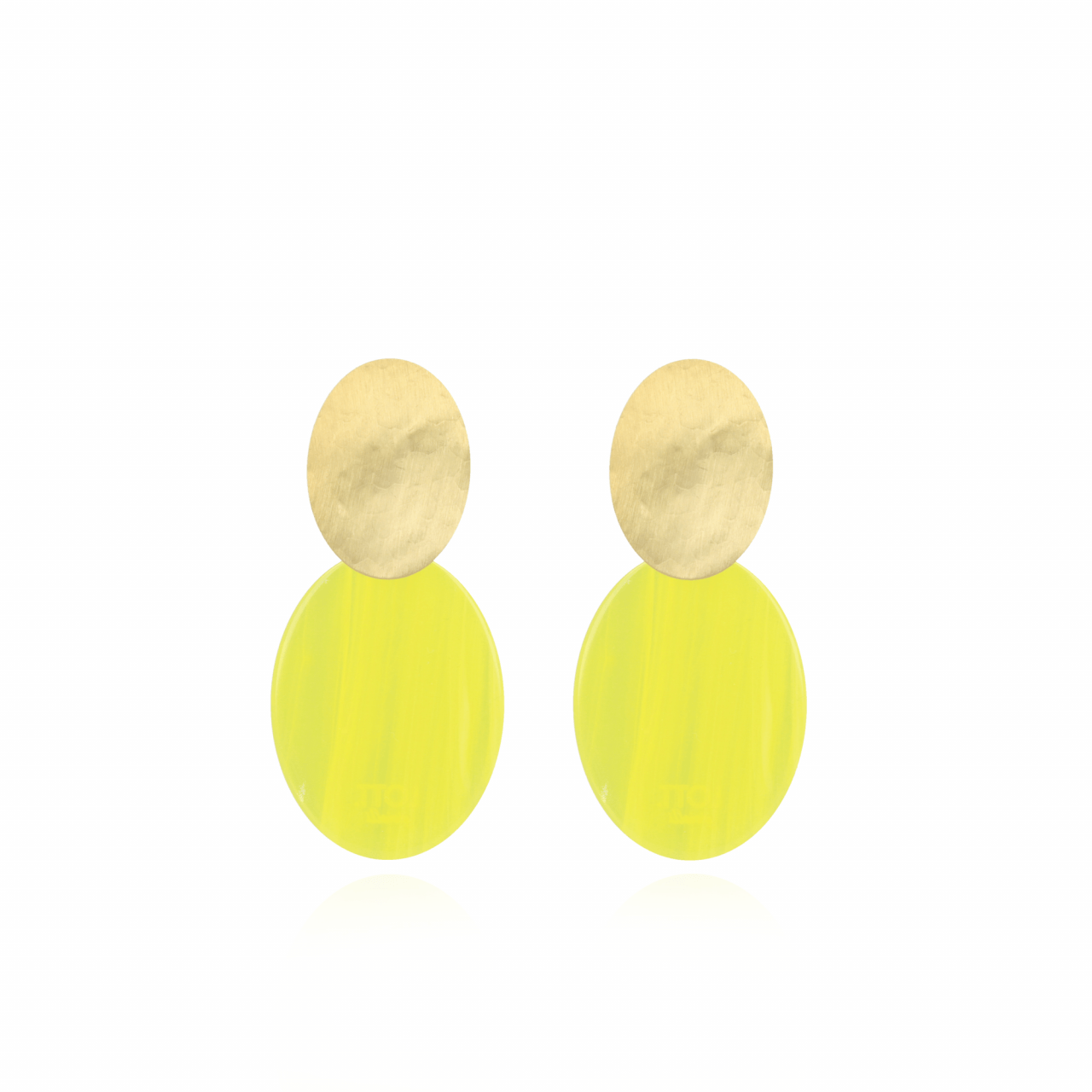 Resin closed oval s sparkling yellow earrings