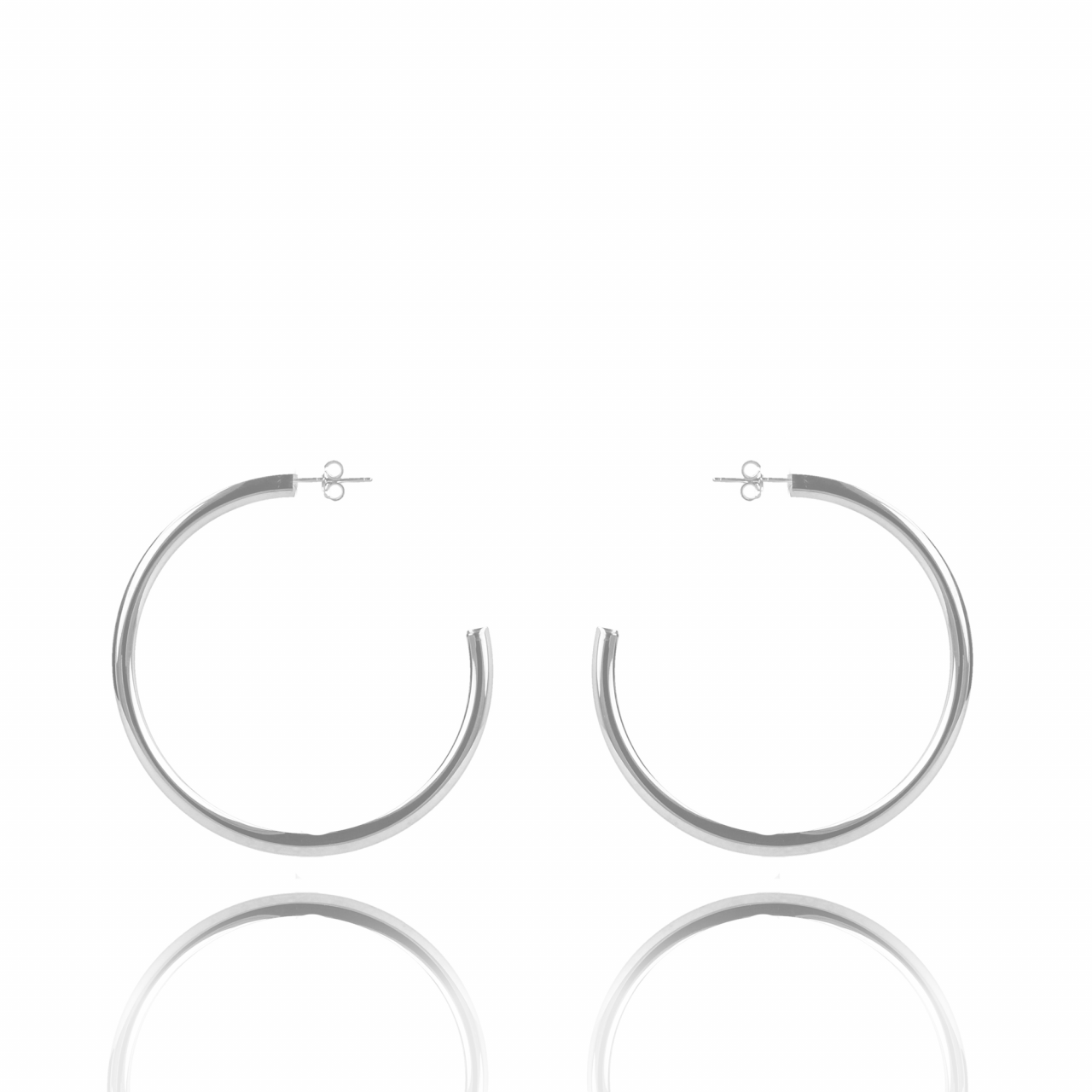 Silver creole round L earrings