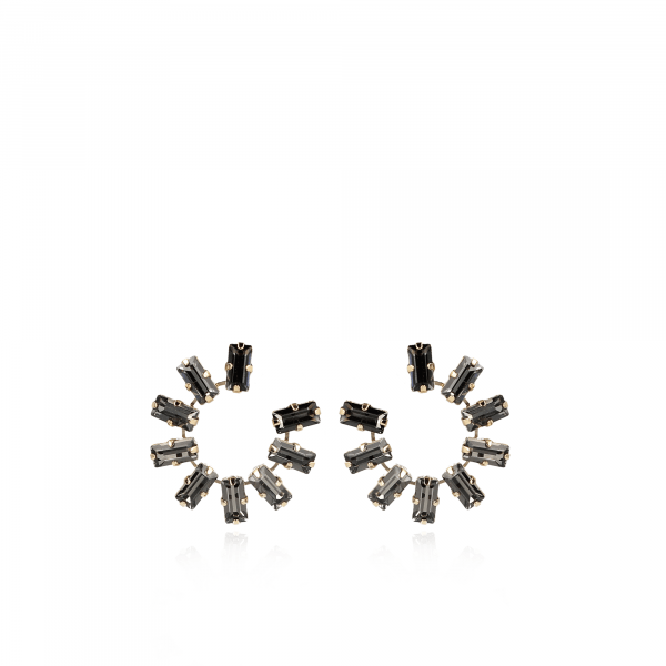 Thirza Swarovski Creole Medium Black Diamond
