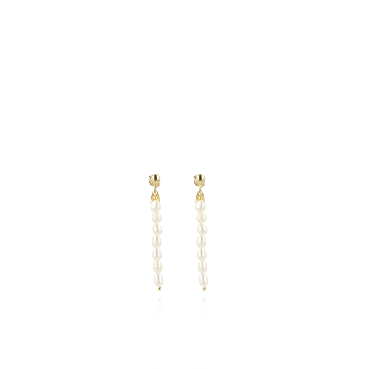 Pearl earrings vertical bar ovoid