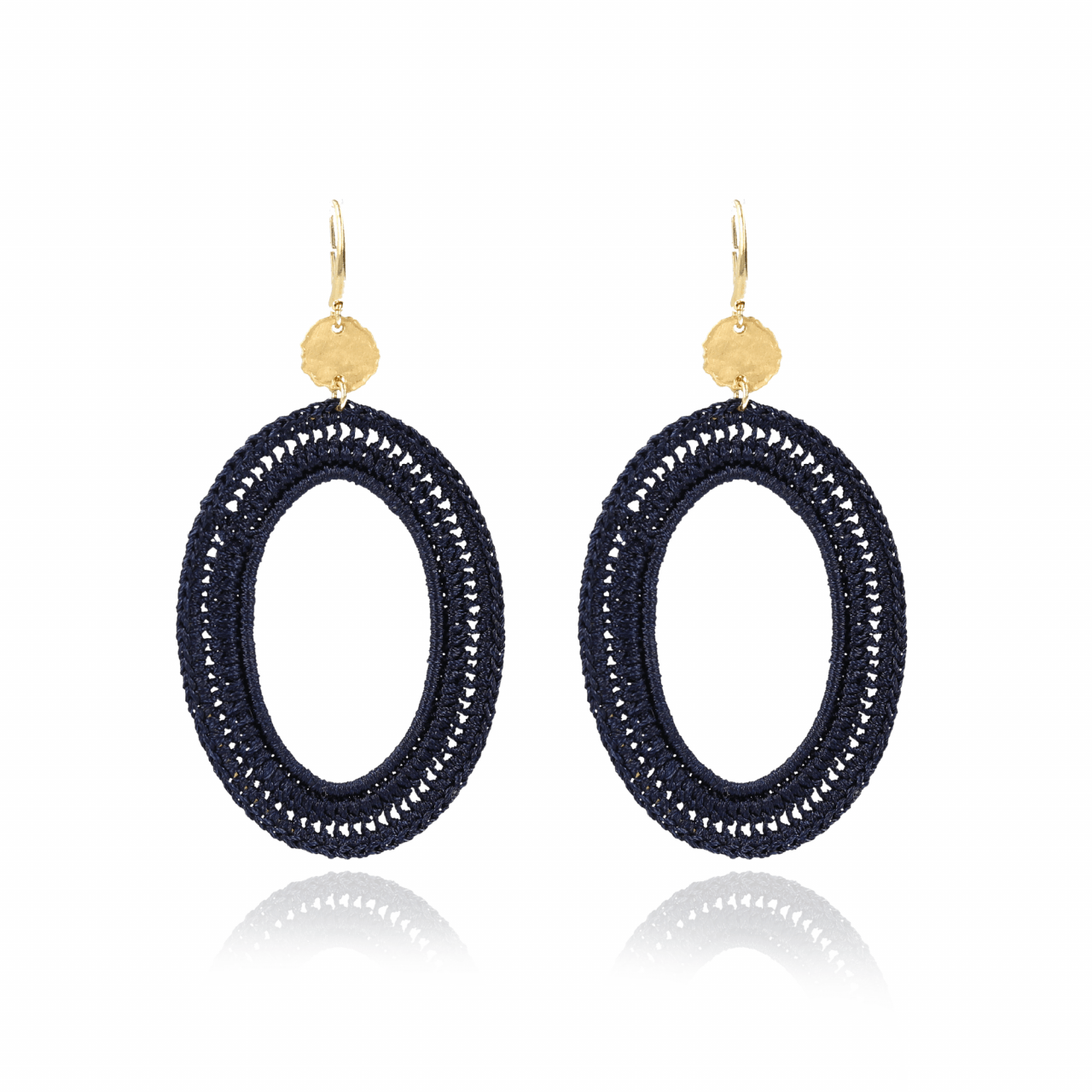 Navy blue silk oval M earrings