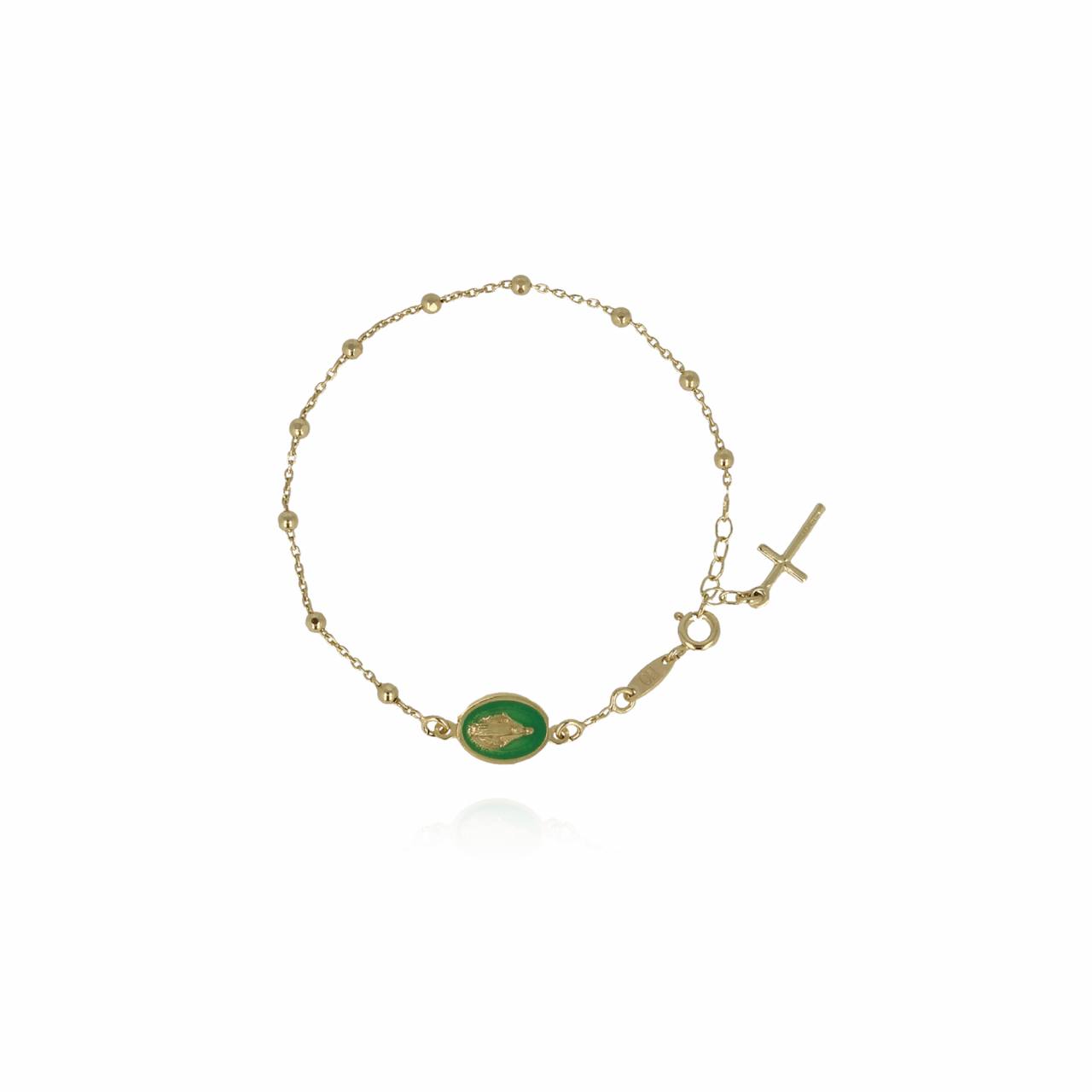 Gouden Rosary Madonna Groen Armband
