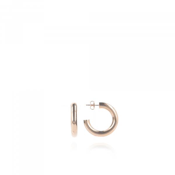 Rosé Golden Tube creole round S earrings