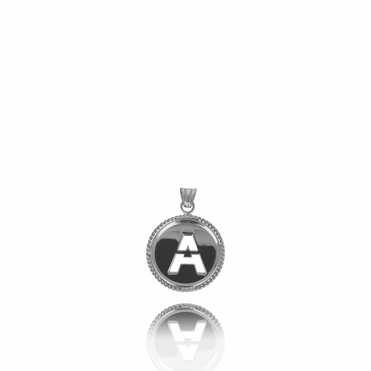 Silver Initial Medallion pendant