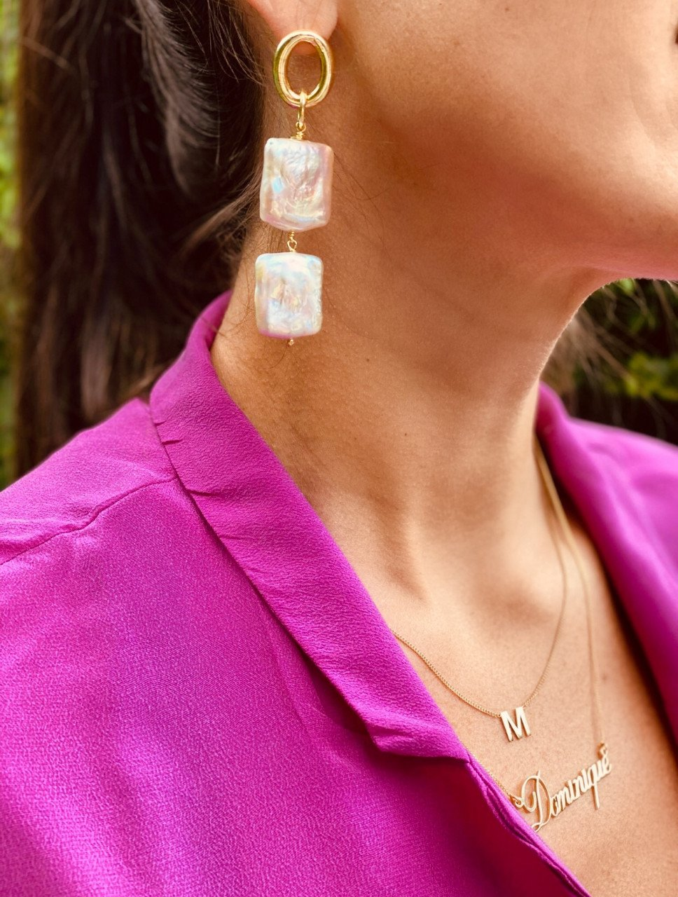 Double pink square pearl earrings