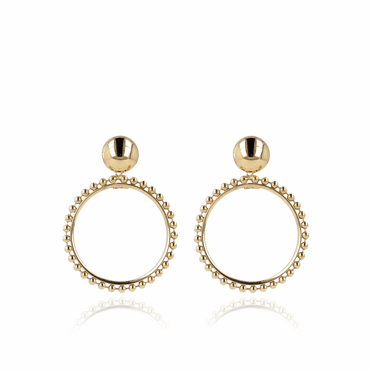 Golden circle ball chain earrings