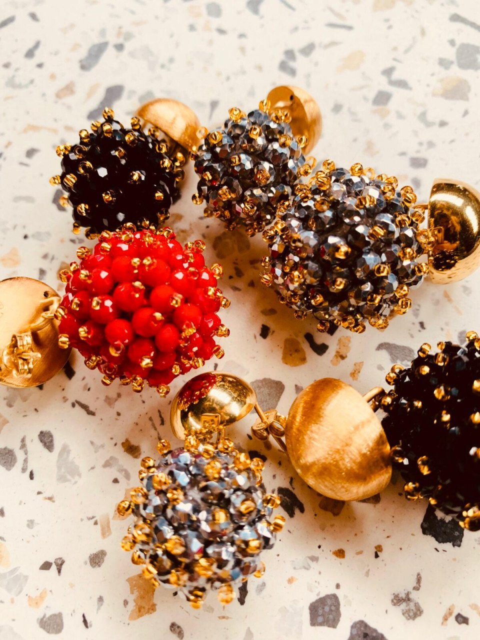 Glassberry Double Stones Globe L Red Gold