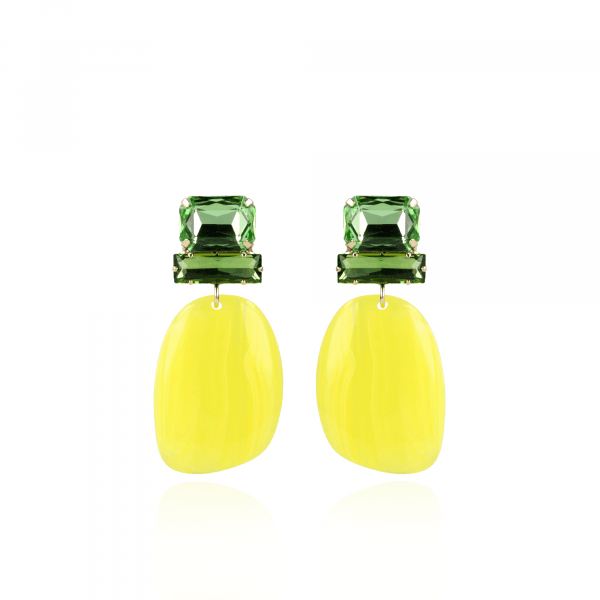 Pernille yellow asymetric oval L earrings