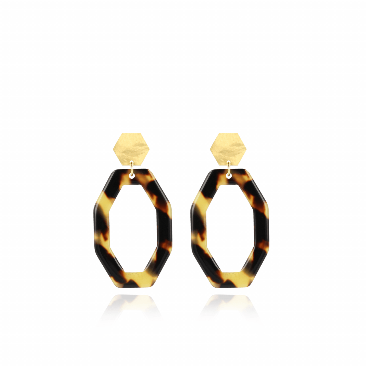 Turtoise resin hexagon open oval S earrings