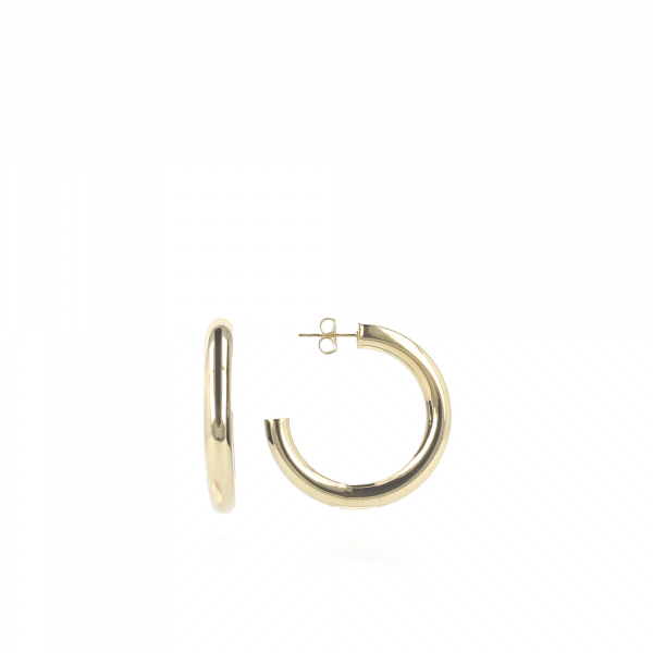 Golden Tube creole round M earrings