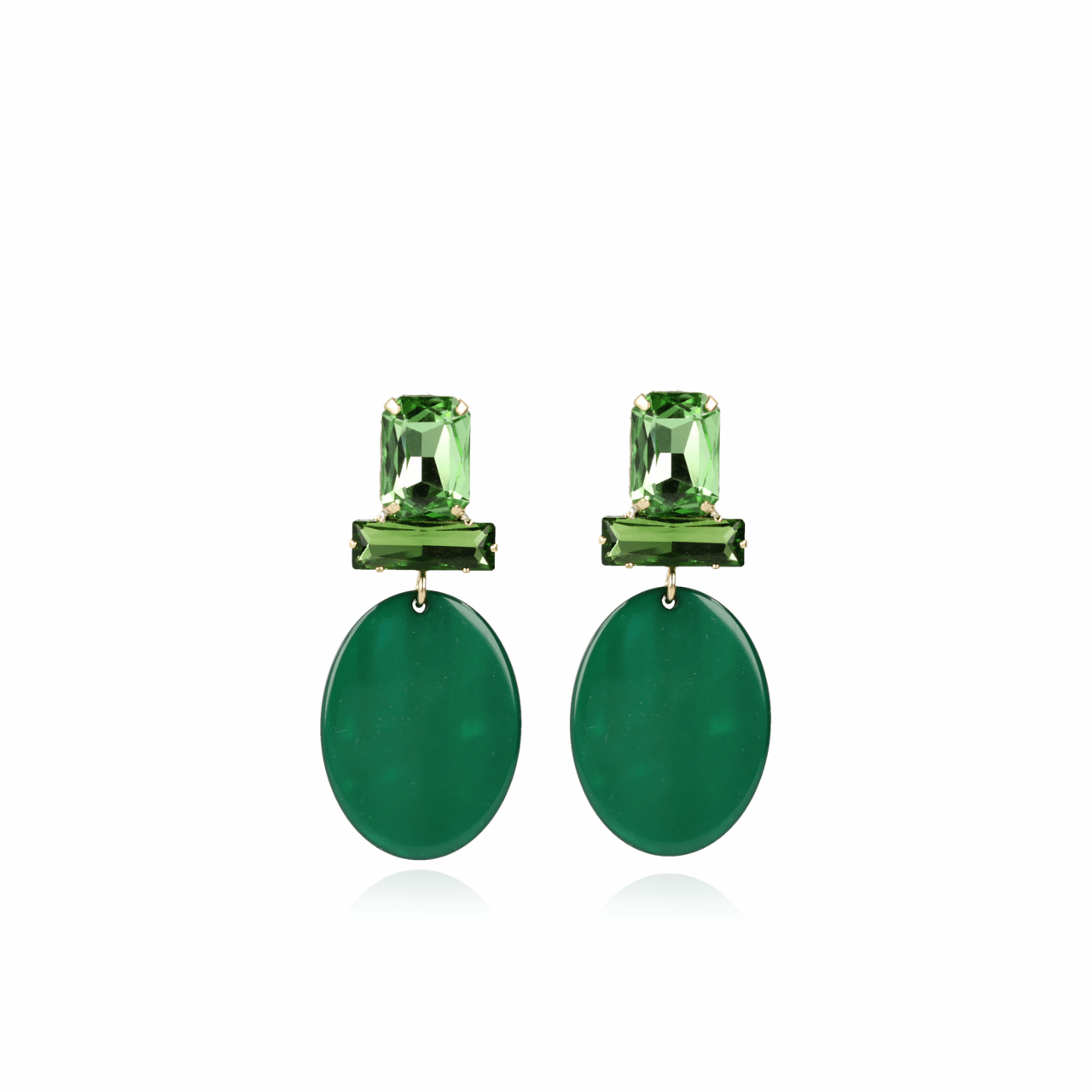 Isabelle resin closed oval S moss green earrings