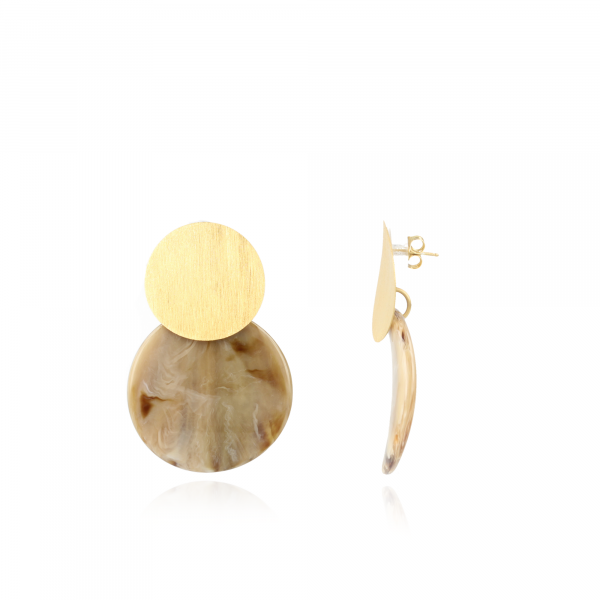 Beige Earrings Orion Curved Round M