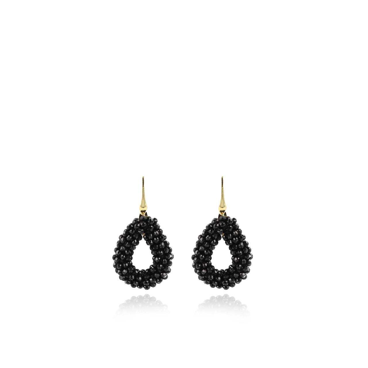Black glassberry drop XS earrings silver