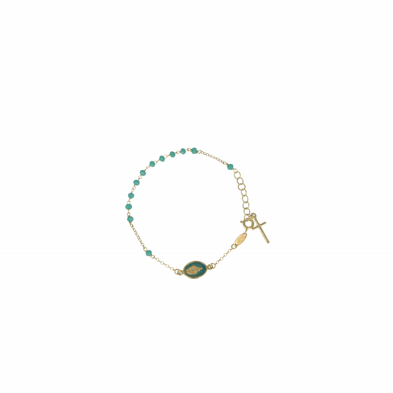 Golden rosary cross and mary sea green bracelet