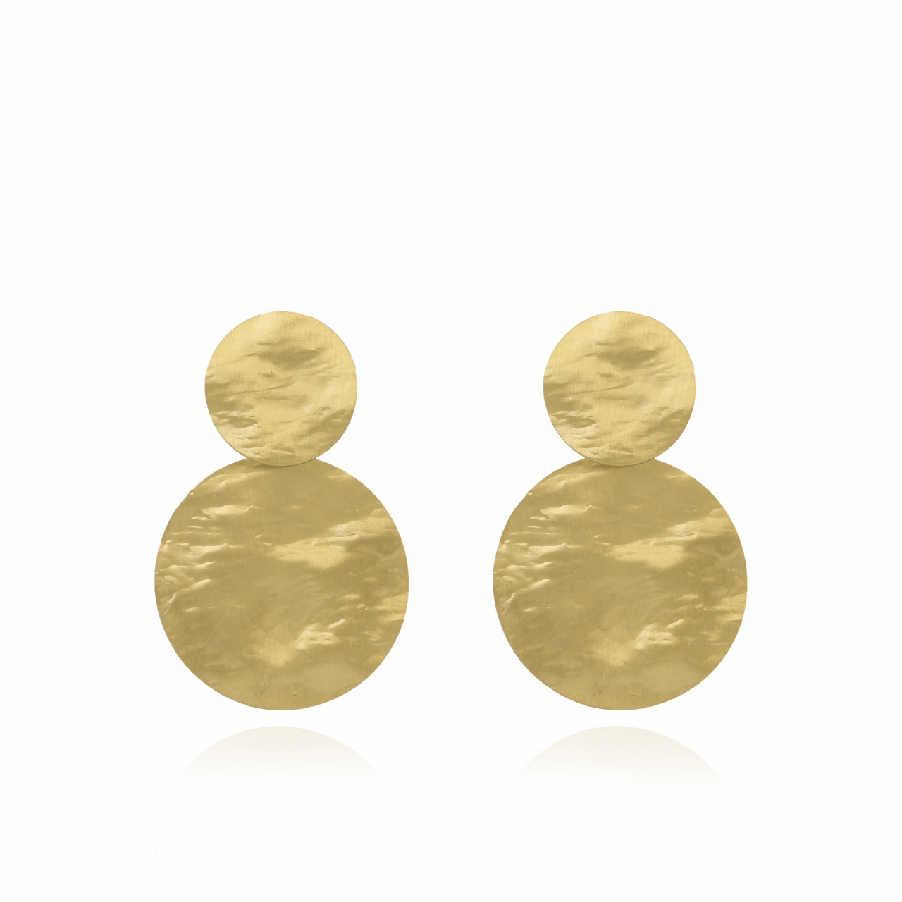 Golden Double Round Hammerd L Earring