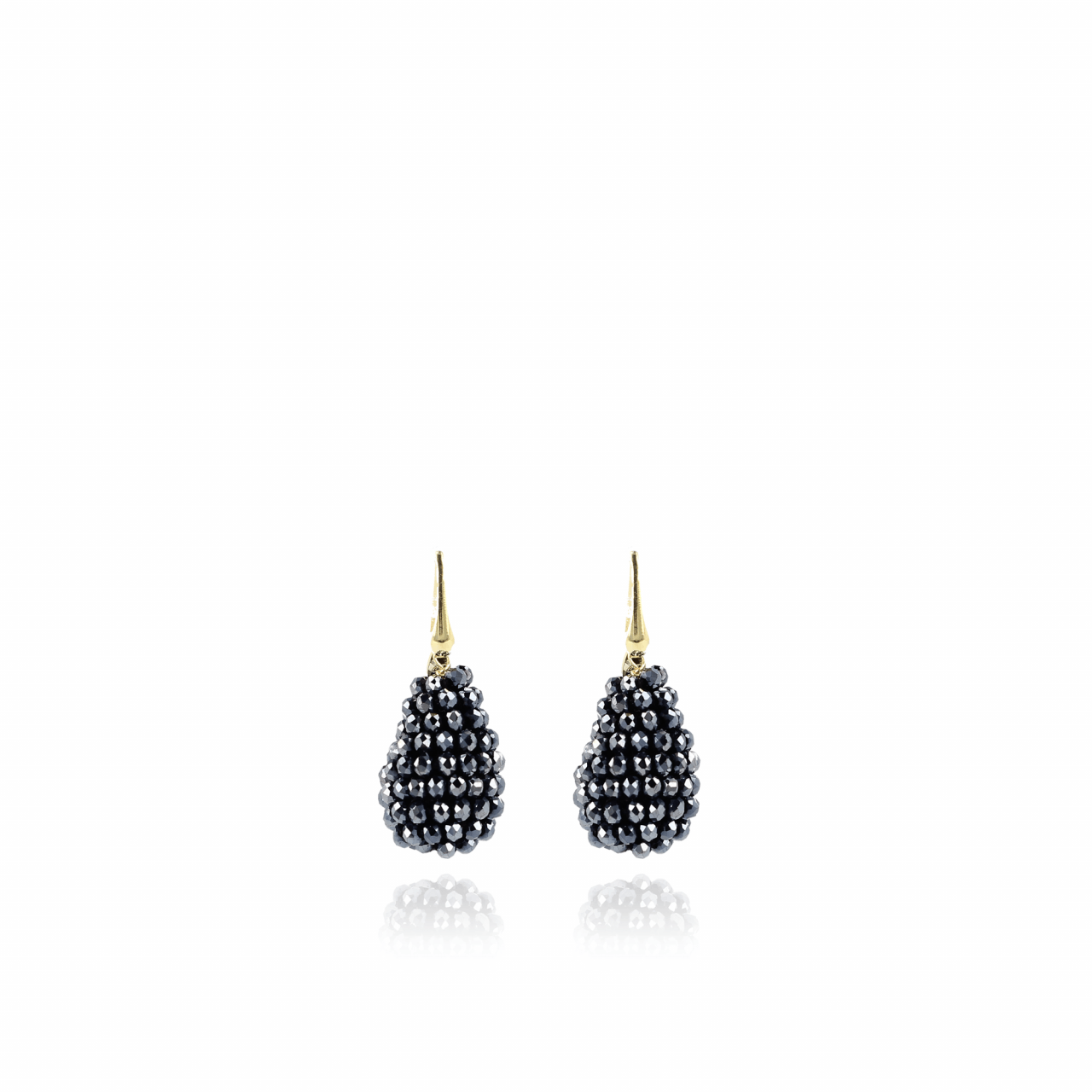 Metallic blue cone glassberry S earrings - hook