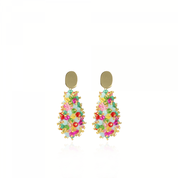 Bella glassberry cone double stones multicolor oorbellen