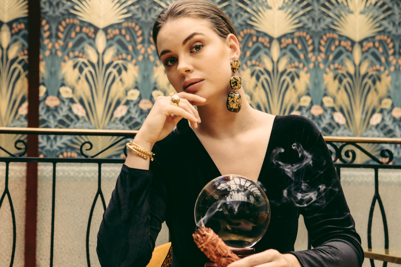 Gold Flakes Earrings Lyra Statement