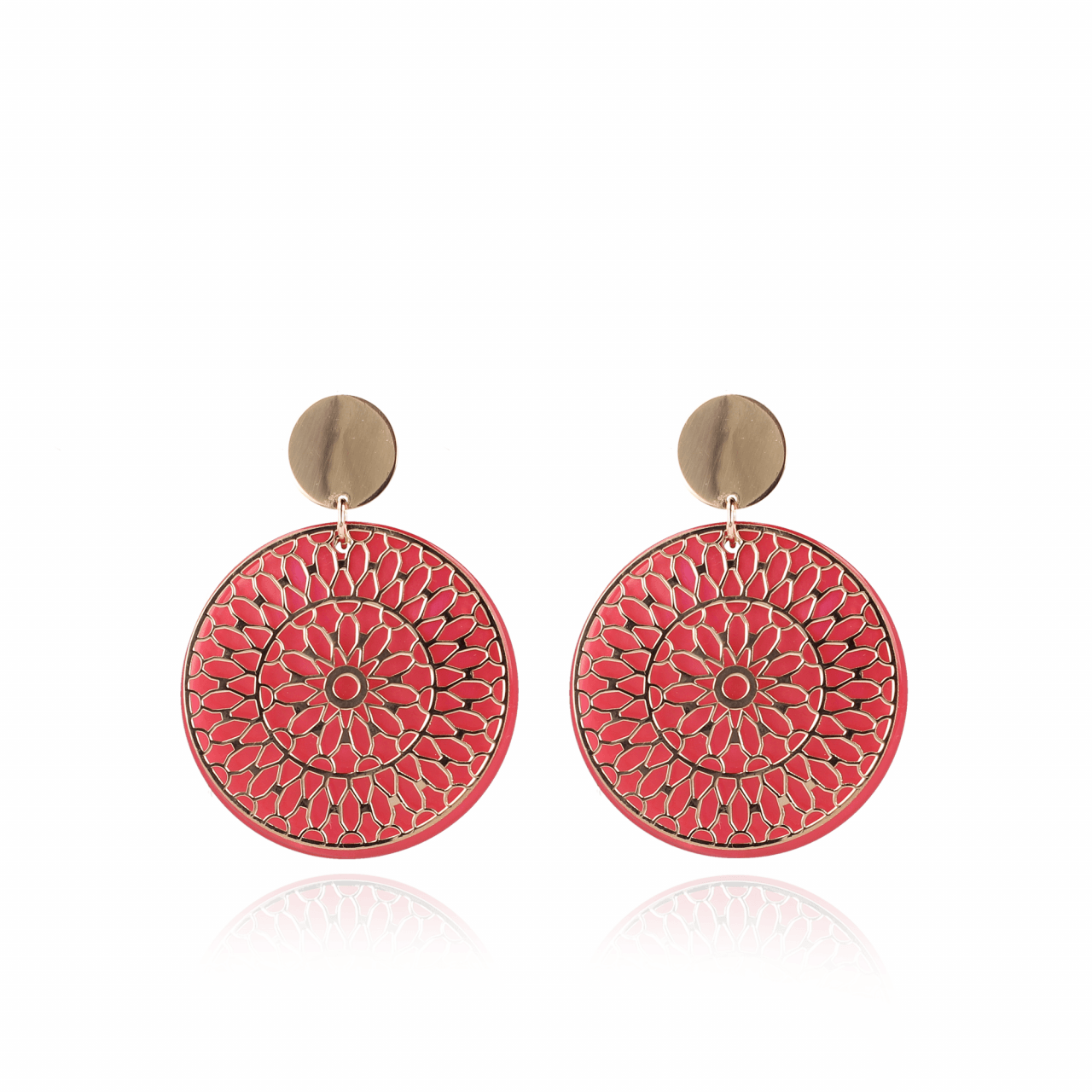 Coral red resin closed circle L earrings