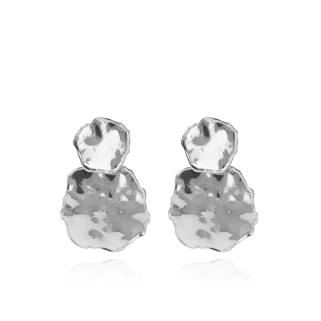 Silver double irregular closed circle shiny earrings