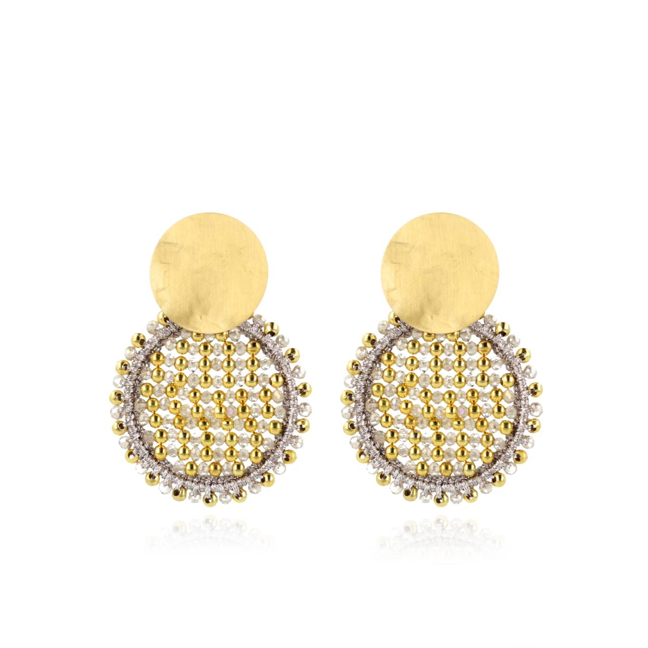 Champagne Oorbellen Isabella Circle Abacus Double Stones M