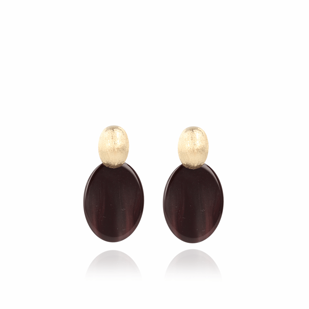 Wine red resin closed oval S earrings gold