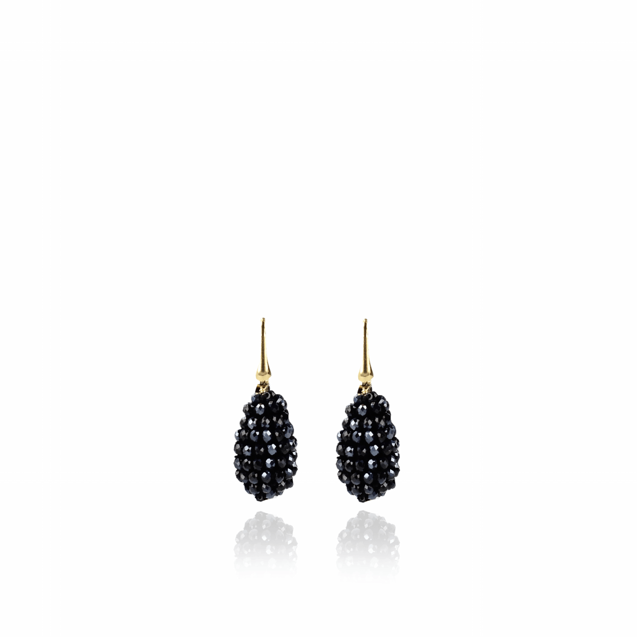 Metallic blue glassberry cone XS earrings