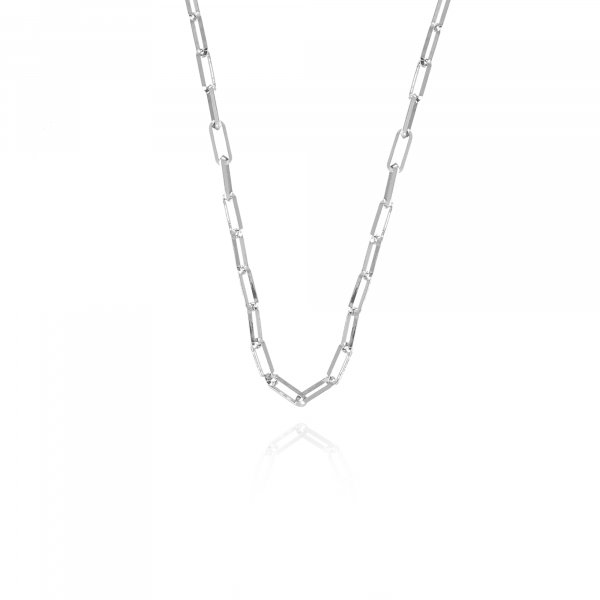 Silver closed forever M chain necklace