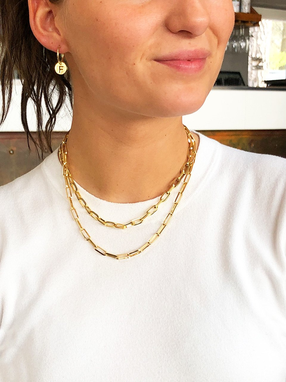 Golden closed forever M chain necklace