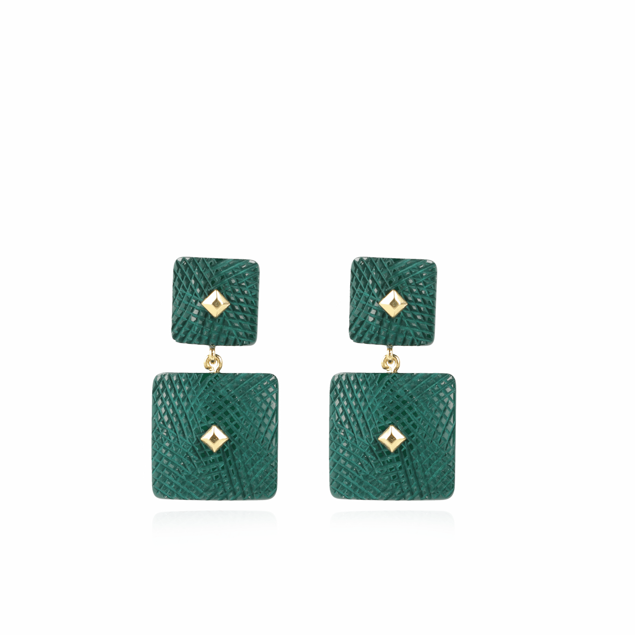 Groene oorbellen Maud Resin Double Rectangle