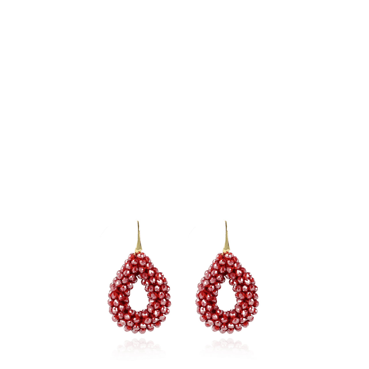 Sparkling red glassberry drop S earrings