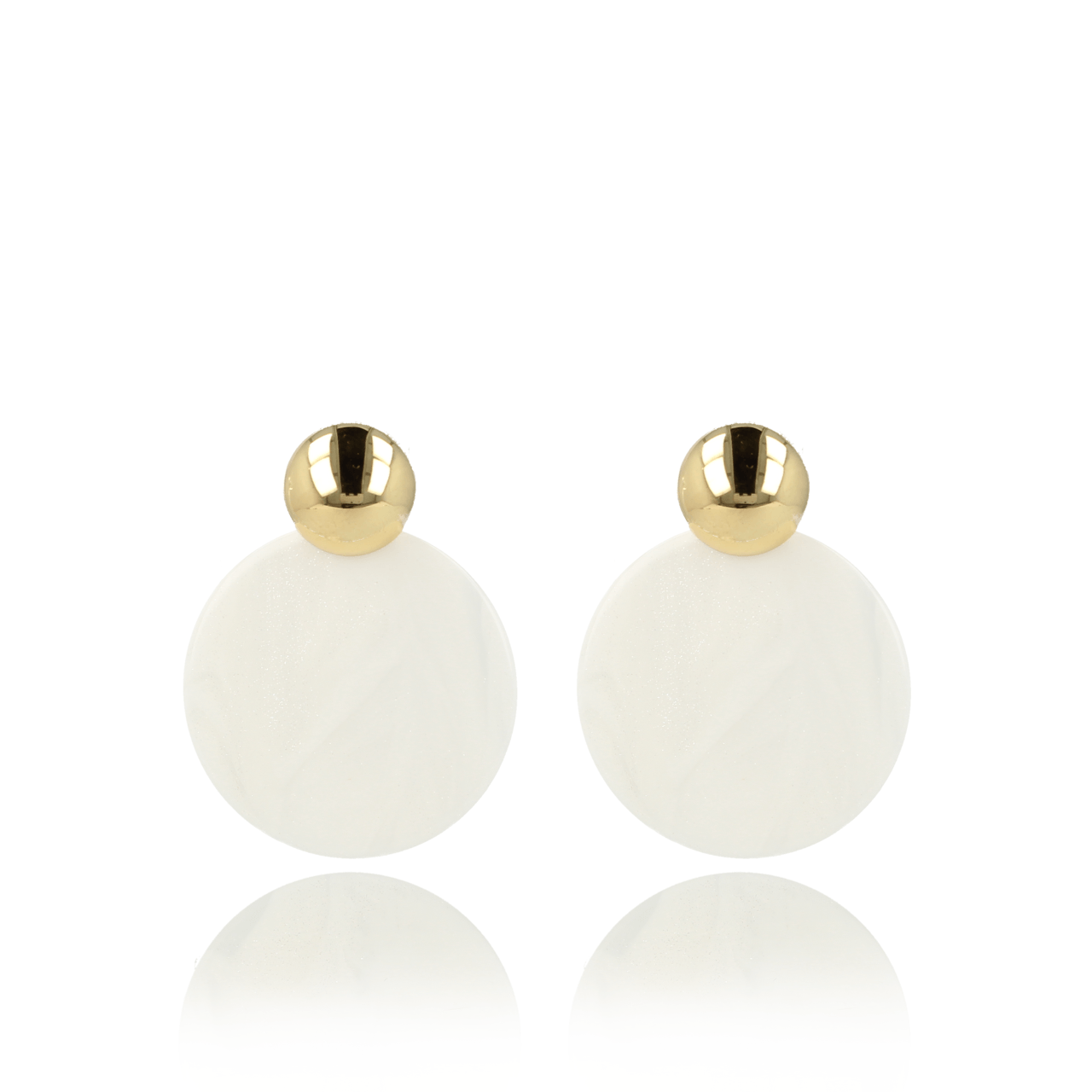 Scintillating white closed circle L earrings gold
