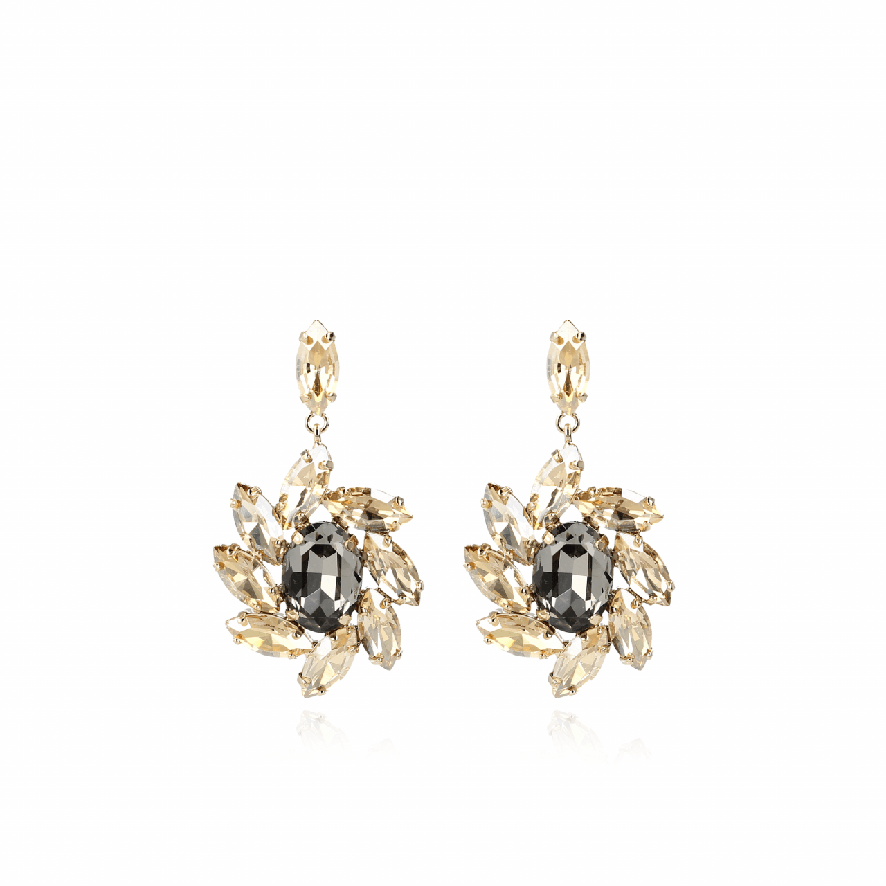 Gabriël Swarovski Flower Earring Gold Black Diamond
