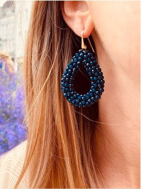 Jeans blue glassberry drop L earrings