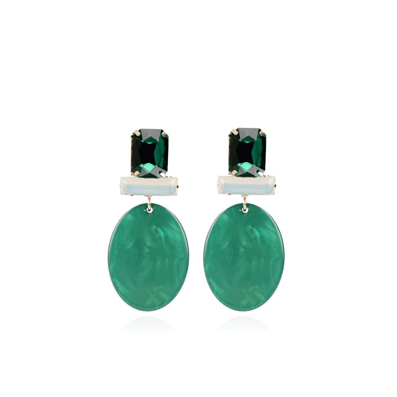 Moss green earrings isabelle resin closed oval s